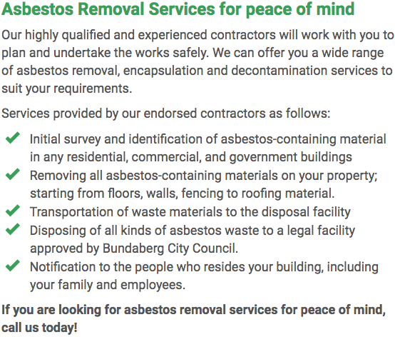 Asbestos Watch Bundaberg - removal right