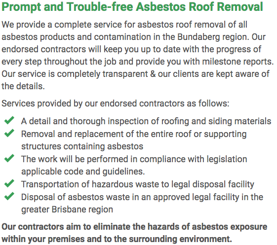 Asbestos Watch Bundaberg - roof removal right